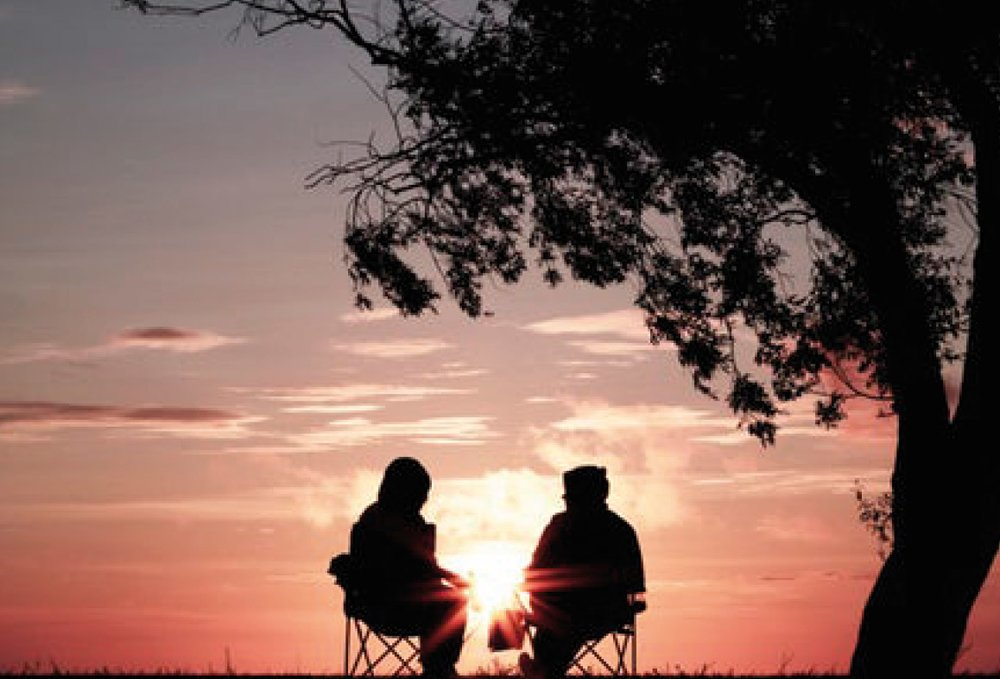 Couple sitting watching the sunset